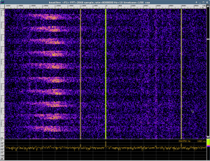 XyLoc tags doing their work - all visible with HackRF's raw data in baudline.