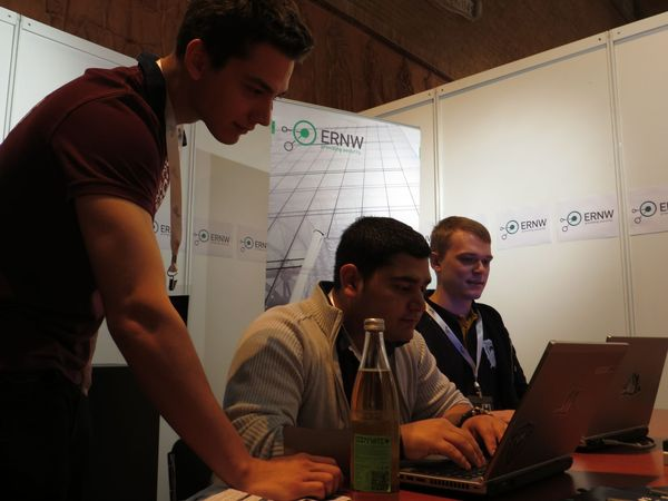 From left to right: Sebastian, Burak and Heinrich at the ERNW booth