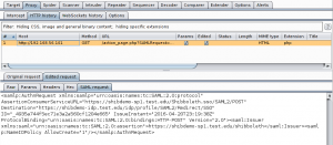 Figure 2: Cleartext SAML Authentication request in Proxy history