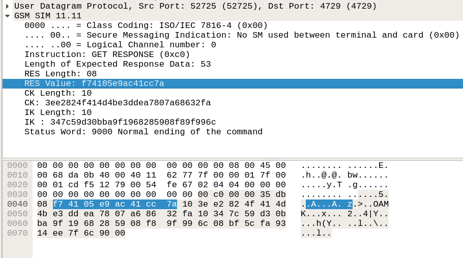 Wireshark dissector showing the IK and CK obtained by sniffing using SIMtrace