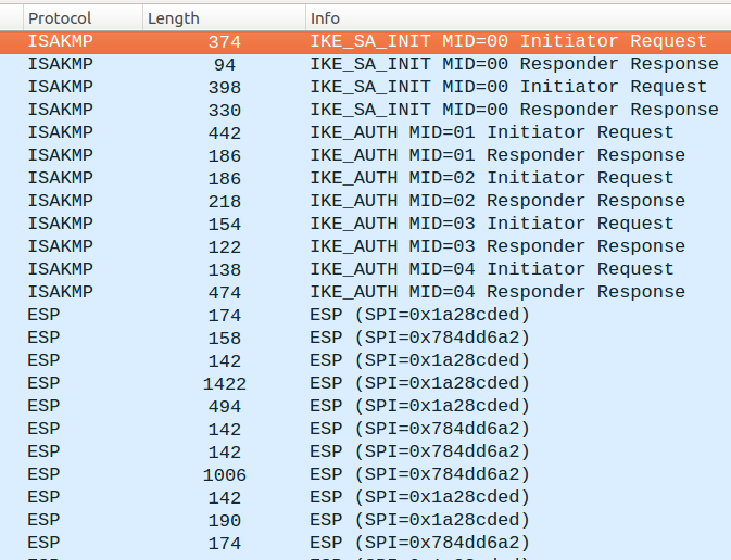 Sniffing wlan0 interface shows initial IKEv2 as ISAKMP followed by ESP packets.