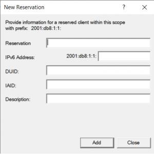 IPv6 Properties of Windows Server 2019 / Windows 10 (1809