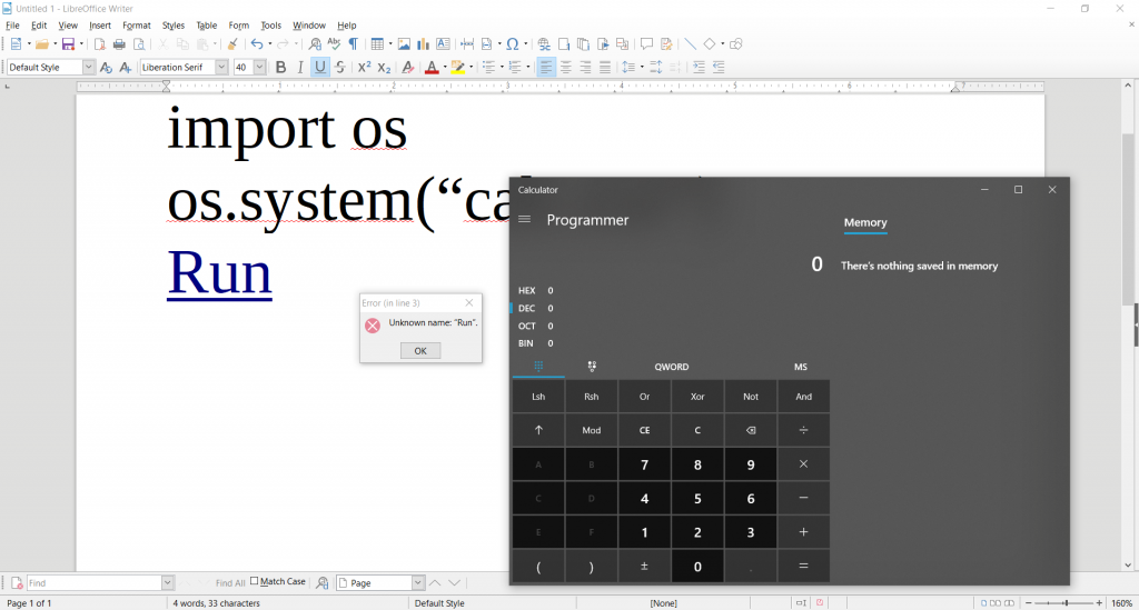 LibreOffice – A Python Interpreter (code execution