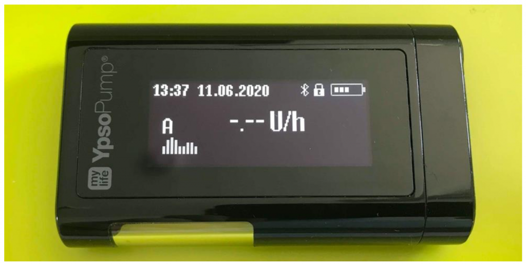 One of the Ypsomed mylife YpsoPump insulin pumps tested in project ManiMed. [1, p. 45]